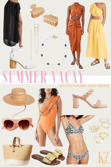 Summer Vacay - Everything You Need. Beach looks, resort looks, vacation outfit, travel outfit inspiration, summer accessories, swim coverups, swimsuits, Womens jewelry, Womens summer bags, Womens shoes - what's trending for summer   #LTKswim #LTKtravel #LTKcurves