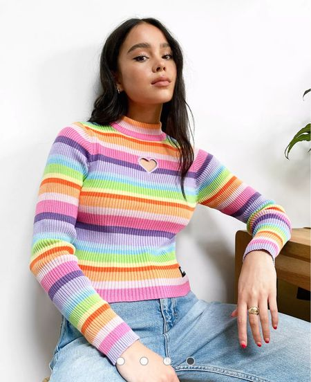This rainbow top is cool af! Look at the heart detail at the chest. So cute for summer! Total throwback 90s vibes! I   #LTKunder50 #LTKtravel #LTKstyletip