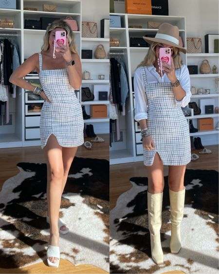 Causal outfit ideas transitional outfit ideas tweed dress fall outfit ideas easy outfits fall hat knee high boots gucci sandals   #LTKSale #LTKSeasonal #LTKstyletip