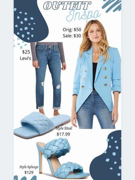 Outfit inspiration  Outfit ideas Boyfriend jeans #walmartfashion #walmartfinds Blazer Braided sandals  Blue   #LTKshoecrush #LTKstyletip #LTKunder50