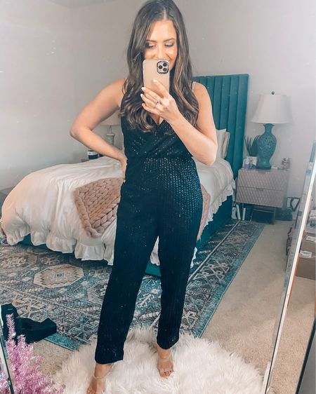 Sequin jumpsuit / holiday party outfit. Wearing a size xs. 50% off right now! http://liketk.it/2Hi0d #liketkit @liketoknow.it #LTKholidaystyle #LTKsalealert