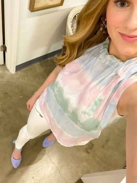 Got this top for such a steal from Anthropologie and love the fit! Wearing an XS and runs TTS! #anthropologie #tiedye #haltertop  #LTKunder100 #LTKsalealert