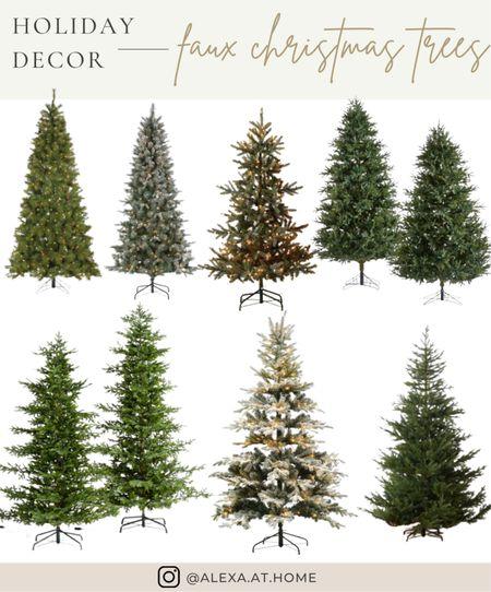 Holiday decor - faux Christmas trees    Faux trees, faux Christmas tree, artificial Christmas tree , prelit Christmas tree , flocked Christmas tree, artificial pine tree     #LTKSeasonal #LTKHoliday #LTKhome