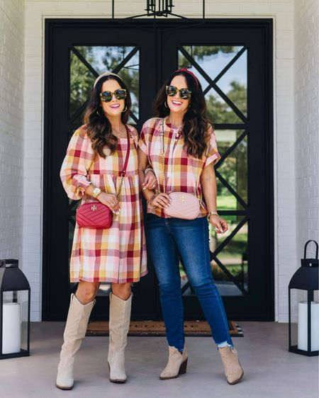 Happy Saturday! It's a gorgeous weather day here in OKC and we're loving it! 🍁 Have y'all shopped the fabulous fall 40% off sale at @loft yet? These jeans, blouse and plaid dress are all included! 😍 We also linked these versatile boots and booties! 🛍 Shop it all via the LTK app or head to our blog and click the Shop Our IG tab. 🍂 We hope y'all have a great day!   #LTKstyletip #LTKshoecrush #LTKsalealert