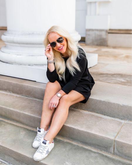 Travel look. Casual dress. Swing shirtdress under $100. Wearing size XS/S. Black causal dress. Shirtdress. Golden goose sneakers.   #LTKtravel #LTKshoecrush #LTKunder100