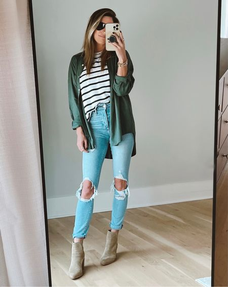 Striped tee on sale! Target button down.  Code JEN15 on these booties!      #LTKshoecrush #LTKSeasonal #LTKstyletip