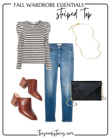 FALL ESSENTIALS: STRIPED TOP // Puff sleeved top outfit idea, high rise skinny jeans, black envelope handbag clutch, block heel mules