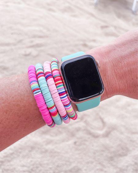 Colorful beaded bracelet set / neon  / summer Apple Watch band 38/40 mm http://liketk.it/3iu6n #liketkit @liketoknow.it #LTKunder50 #LTKtravel #LTKbeauty