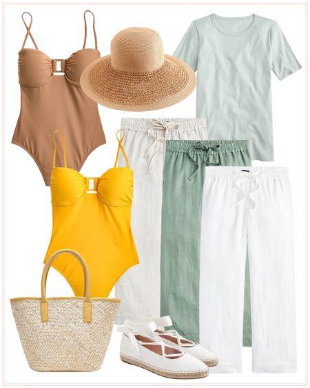 J.Crew finds, summer outfits, summer look, pants, vacation outfit, beach outfit, tote, summer bag, sale. http://liketk.it/3i57v #liketkit @liketoknow.it #LTKsalealert #LTKtravel #LTKswim @liketoknow.it.home @liketoknow.it.family