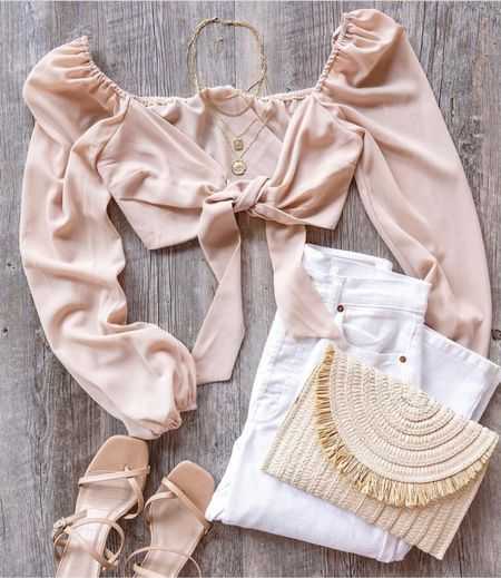 So cute 😍😍😍    Crop top, white pants, nude sandals, nude high heels, summer outfits, trendy outfits, outfit inspo, pink crop top, tie front top, neutral clothing, fashion inspo, pink blouse  #LTKstyletip #LTKunder100 #LTKsalealert