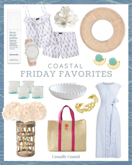 """This week's Friday Favorites! The shirt dress, pjs and cane mirror are all on sale!  @liketoknow.it @liketoknow.it.home #liketkit #LTKhome #LTKsalealert http://liketk.it/3gdZs  Summer sale alert, summer sales, memorial day sale, gifts gifts for her, gifts for mom, summer decor, summer decorations, summer home decorations, coastal decor, beach house decor, beach decor, beach style, coastal home, coastal home decor, coastal decorating, coastal house decor, blue and white decor, home accessories decor, coastal accessories, preppy style, beach vacation outfits, summer fashion, resort style, resort wear, beach style, beach dress, summer pajamas for women, summer pajama sets, j.crew pajamas, pajama short set, textured decor, decorative coral, decorative objects, sleep products, pillow spray, aromatherapy, women's watches, white watches, watches under $100, watch with leather band, nordstrom rack, 24"""" round mirror, 24"""" round wall mirror, cane mirror, coastal mirror, summer accessories jewelry, kendra scott bracelets, gold cuff bracelets, beach vacation accessories, vacation outfits, turquoise earrings, turquoise jewelry, statement earrings, summer earrings, disc earrings, aqua earrings, jcrew jewelry, drinking glasses set, old fashioned glasses, double old fashioned glasses, drinkware sets, cocktail glasses, blue glasses, anthropologie home, white beaded bowl, west elm, white stoneware dishes, white stoneware bowl, white serveware, white dinnerware sets, dresses with belt, tie waist dress, blue and white striped dress, blue and white dress, linen dresses, linen dress midi, Linen shirt dress, jcrew dresses, straw bag, large tote bag, oversized tote bag, monogrammed tote, personalized tote bag, personalized beach bag, personalized beach tote, straw beach bag, straw beach tote, mark and graham, faux flowers in vase, hydrangeas, hydrangea stems, faux hydrangeas, hydrangeas with vase, hydrangea arrangement in vase, woven vase, bamboo vase, target home, outdoor lantern"""