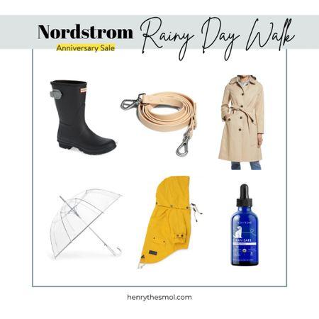 #nsale Nordstrom Anniversary sale. Dog Mom rainy day essentials. Rain coat, rain boots, umbrella and waterproof leash   #LTKfamily #LTKstyletip #LTKsalealert