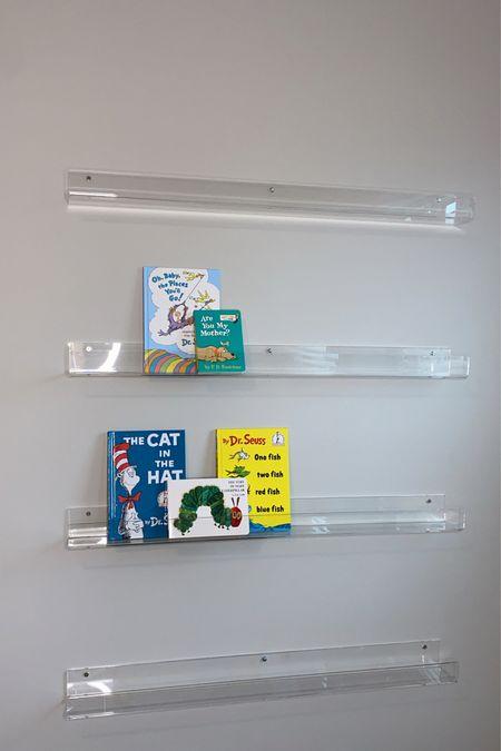 Nursery bookshelves  Size: 36in  Spaced 14 inches apart . . #Nursery #BabiesRoom #Bookshelves #homedecor #Home #NurseryStyle #bookshelf #acrylicbookshelf #amazon #AmazonFind #AmazonHomeItem #home #Homestyle   #LTKhome #LTKbaby