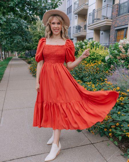 Fall dress, fall midi dress, nap dress, nap dress dupe, nap dress sale, smocked dress, burnt Orange,   #LTKunder50 #LTKstyletip #LTKSeasonal