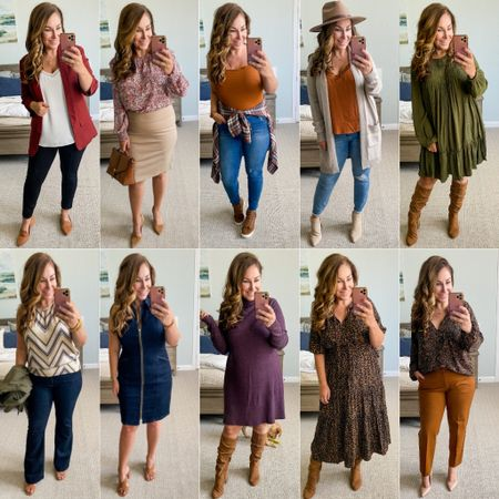 Fall outfits // see sizing and details at therecruitermom.com   Amazon fashion Evereve Walmart  Fall outfits  Fall dress   #LTKcurves #LTKworkwear #LTKunder100