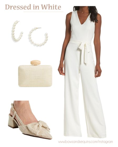 Calling all brides 💍  This white jumpsuit is under $100 and I'm obsessed with these bow pumps and pearl hoops!  #LTKwedding #LTKunder100 #LTKstyletip