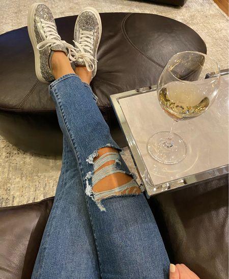 #casual #sneakers #sparkle #platformsneakers #lounging #distressedjeans #rippedjeans #momjeans #designersale   #LTKshoecrush #LTKsalealert #LTKcurves