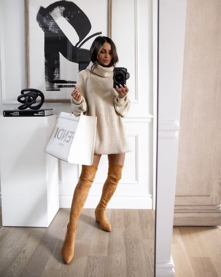 Fall outfit ideas Take 40% off with code MARIA40 now Chunky knit sweater dress and over-the-knee suede boots    #LTKunder50 #LTKsalealert #LTKunder100