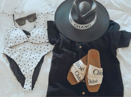 Cute polka dot reversible high waisted bikini, the amazon button up I've been wearing on repeat, fav amazon sunglasses and my new black hat I'm LUVing.   #LTKswim #LTKunder50 #LTKtravel