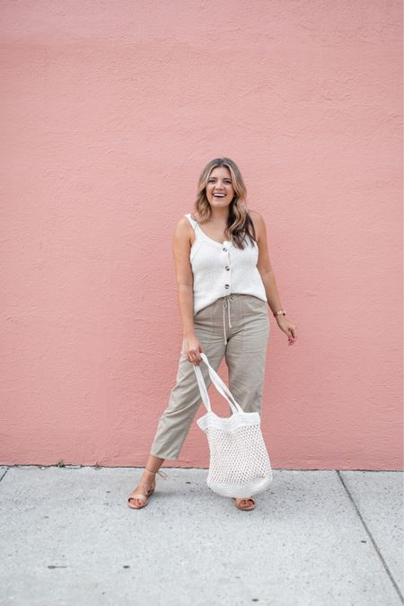 Head to toe @madewell and it's all on sale!! Tank fits tts, size down in the olive pants (they're elastic waist! 🎉), lace-up sandals are tts! Use code SALEONSALE for an additional 30% off! #madewell #everydaymadewell   #LTKunder100 #LTKsalealert #LTKunder50