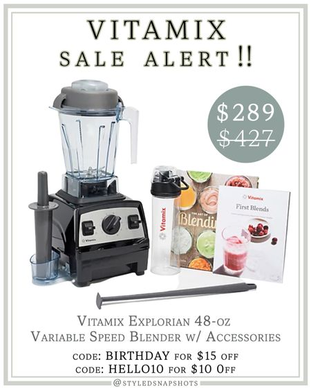 Vitamix Sale Alert 🚨 48oz Vitamix + accessories for $289, normally $427 // 9 colors // code BIRTHDAY for $15 off or HELLO10 for $10 off #LTKsalealert #LTKhome #liketkit @liketoknow.it http://liketk.it/3htMR #KitchenGadgets
