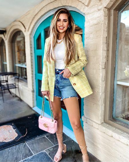 Lime green blazer small White ribbed bodysuit medium   #LTKworkwear #LTKunder100 #LTKstyletip #liketkit @liketoknow.it http://liketk.it/3k4C9