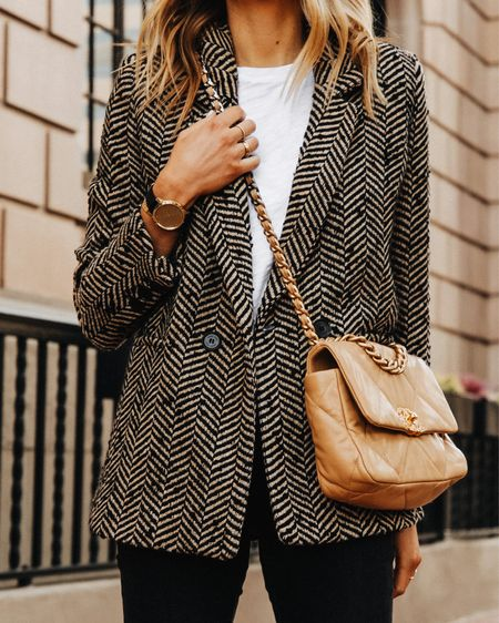 The perfect herringbone blazer for the office! Love this classic style that can be dressed up or down. Wearing an XS #falloutfit #businesscasual   #LTKstyletip #LTKworkwear #LTKunder100
