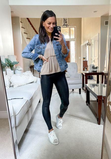 Spanx faux leather leggings (tts to small), amazon fashion peplum top (tts), old navy jean jacket (tts to small) - fall outfit idea  #LTKunder50 #LTKunder100 #LTKstyletip