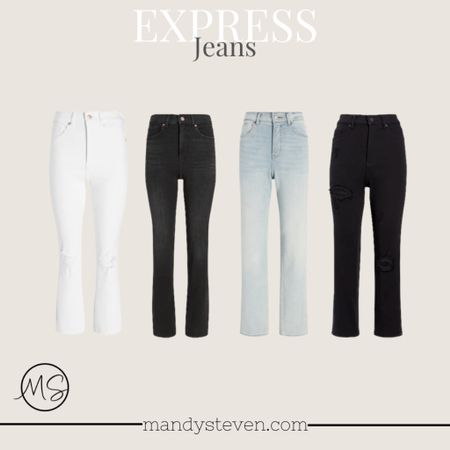 I have all these and love them and they are on sale! Express denim white jeans black jeans 90s style jeans fall fashion   #LTKunder50 #LTKsalealert #LTKstyletip