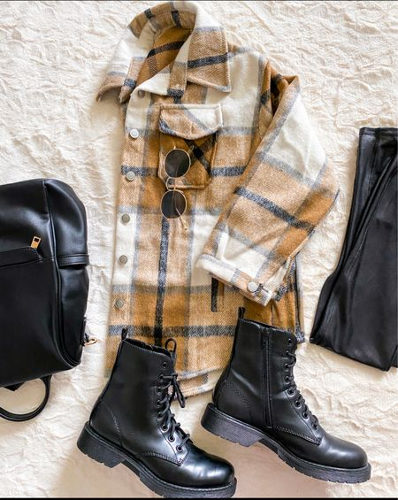 Fall and winter outfit - a plaid shacket with faux leather leggings , combat boots and a backpack purse.    Shacket true to size - seen in small - comes in other pretty colors   Spanx faux leather leggings - small petite - size up if in between  Walmart boots true to size - lace up and zip up the sides for ease of getting off and on       Fall outfit , Amazon fashion , amazon finds , combat boots , Shacket , fall fashion , Walmart finds , spanx leggings , faux leather leggings , lug boot , street style , casual outfit , weekend outfit , sunglasses , thanksgiving outfit , leggings outfit   #LTKSeasonal #LTKshoecrush #LTKunder50