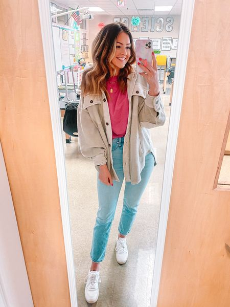 Casual Friday teacher outfit. Madewell Perfect Vintage Jeans in 26. Target tshirt in xs. Free people jacket in small. #liketkit @liketoknow.it http://liketk.it/3eUbw