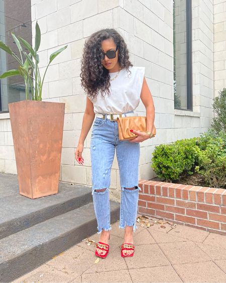 Linked my black oversized sunglasses, red mules with gold chain detail, camel clutch, and gold chain necklace!!! http://liketk.it/3ccJN #liketkit @liketoknow.it #LTKitbag #LTKunder50 #LTKshoecrush