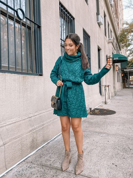 So it might only be the first week or November BUT I'm kinda, sorta, maybe(?) ready for the holiday season 😬 Idk about you guys but I'm in need of some holiday cheer after this sh*tshow of a year 🤣  And how can I not be in the holiday season with this adorable @shopthemint sweater dress?! The color is PERFECT for the holidays and it's sooo so comfy too! It would actually be perfect for a big thanksgiving dinner since it so roomy!   Anywho, lmk if I'm crazy for wanting to skip straight to the holidays! I did just order a Christmas tree 🎄 for my apartment today...   #LTKstyletip #LTKunder100