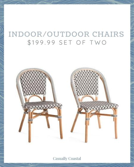 These will go quick, but a great deal for a set of indoor/outdoor bistro chairs!  @liketoknow.it @liketoknow.it.home #liketkit #LTKhome #LTKfamily http://liketk.it/3hgM6   coastal decor, beach house decor, beach decor, beach style, coastal home, coastal home decor, coastal decorating, coastal house decor, home accessories decor, coastal accessories, beach style, blue and white home, coastal interiors, modern coastal, coastal outdoor furniture, coastal outdoor chair, bistro chairs, TJ maxx home, tj maxx home decor, tj maxx finds, indoor outdoor chairs, serena and lily dupe, woven outdoor chairs, outdoor bistro chairs, indoor bistro chairs, patio chairs, outdoor dining chairs