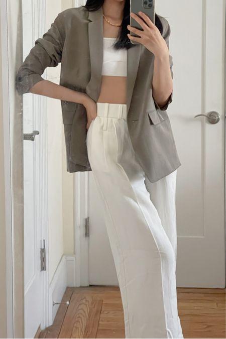 Blazer, work blazer, linen pants, wide leg pants, spring fashion, spring outfit, spring look, workwear, everlane, crop top, business casual  #LTKworkwear #LTKSeasonal #LTKstyletip