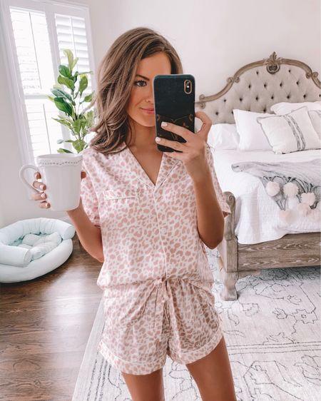 Cute summer pjs! And my coffee mug is 50% off right now! http://liketk.it/3igJ1 #liketkit @liketoknow.it #LTKunder50 #LTKunder100 #LTKsalealert Amazon finds, Amazon fashion, pink pajamas, summer pajamas, Amazon pjs, Pottery Barn coffee mug, pink slippers