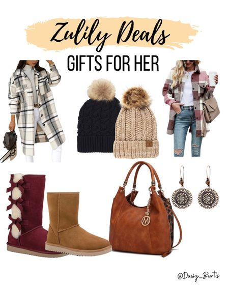 Zulily has so many great gift ideas for the woman in your life!! Shackets, beanies, earrings, bags, boots, etc!    #LTKsalealert #LTKHoliday #LTKGiftGuide