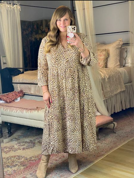 This is the perfect leopard print midi dress and it's under $20!