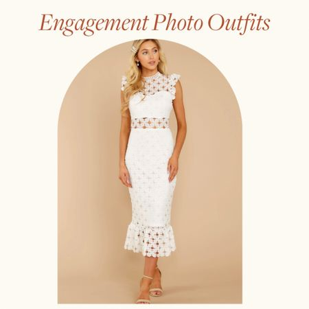 Engagement Photo Outfits Ideas—  This white sleeveless midi dress, with lace and cutout detail is perfect for Spring engagement photo outfits, summer engagement photos outfits and fall engagement photos outfits with a little class and flare   Would be a great wedding guest dress option too!   http://liketk.it/38nVe #liketkit @liketoknow.it       #LTKVDay #LTKwedding #LTKstyletip