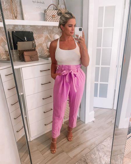 Purple paper bag pants! Sooo cute for the office! http://liketk.it/3hPVc @liketoknow.it #liketkit #LTKunder100 #LTKstyletip #LTKunder50