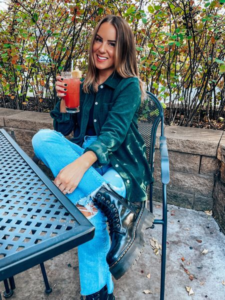 Casual fall outfit with flannel and dad straight jeans + doc marten combat boots - wearing s top, size up one in jeans, down .5 in docs    #LTKSeasonal #LTKshoecrush #LTKunder100