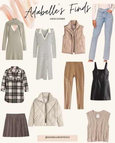 Abercrombie dress sweater vest jacket shacket denim jeans skirt   #LTKunder100 #LTKSeasonal #LTKunder50
