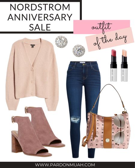 Nordstrom anniversary sale in stock outfit of the day! Pair an oversized cardigan with busted knee jeans for a casual fall look!   #LTKstyletip #LTKsalealert #LTKunder100