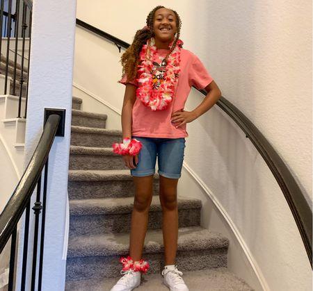 It was Hawaiian 🌺 Day at school.  #Hawaiian #FunatSchool #Kiddos #BacktoSchool #Adidas   #LTKkids #LTKbacktoschool