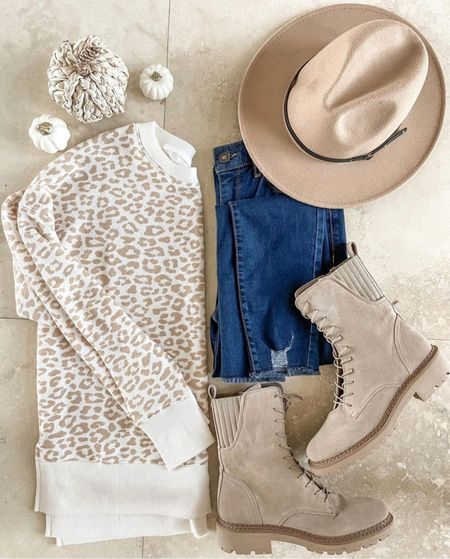 Love this fall outfit! I'm in love with these boots on sale and this fun hat from Amazon   #LTKunder50 #LTKshoecrush #LTKSale