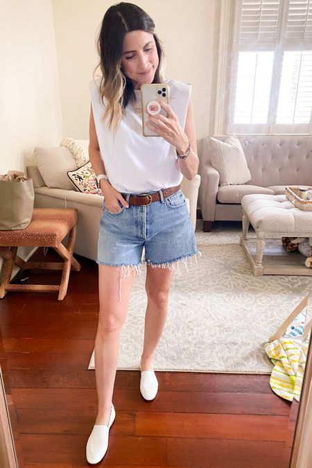 Jean short season has arrived! ☀️ My FAVORITE pair. Second year in a row with them. Perfect fit, perfect length. Run TTTS. Paired with shoulder pad tee (under $25), runs TTS.  #agoldeshorts  #agoldereese  #shoulderpadtee   #LTKunder50 #LTKstyletip