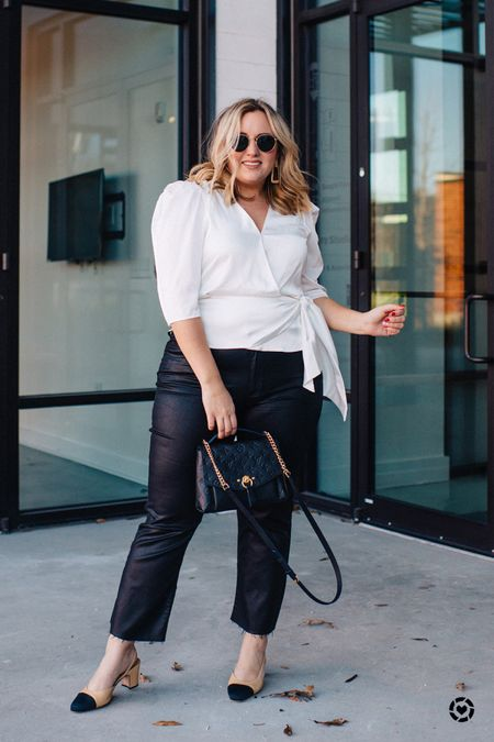 Puff sleeve trend is real and I am all about it.  I also love the soft white shirt paired with a faux leather coated jean.   http://liketk.it/2JS87 #liketkit @liketoknow.it #LTKcurves #LTKunder100 #LTKstyletip