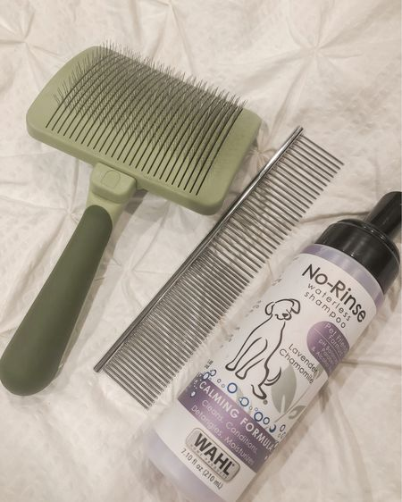 """So many friends growing their families with pups lately so I thought I'd share our go to """"grooming"""" favorites with you. This slicker brush is amazing because not only does it feel good to them but the stainless steel pins are retractable allowing for you to just pull fur off without having to pick it out of the bristles. We use the waterless shampoo a lot especially around the beard of our pups. I also linked the dog dishes we use and fur freshener for in between grooming appointments.   http://liketk.it/2SgRP #liketkit @liketoknow.it"""