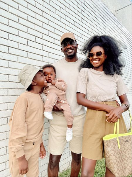 Monochrome taupe family outfits! Love sleeve sweater set for big boys, taupe polka dot set for baby , tan dad hat with tan sweatshirt and shorts for him and cropped tan top, oversized brown tie front shorts and city coach tote in signature print with neon accents.   #LTKkids #LTKunder100 #LTKfamily