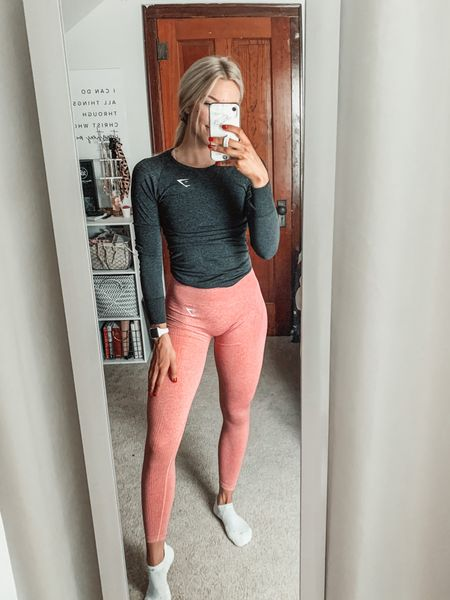 Gym OOTD | wearing Gymshark vital seamless leggings size small and Gymshark vital seamless long sleeve in size small as well    #LTKunder100 #LTKfit #LTKunder50